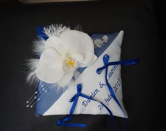 Royal Blue and white cushion