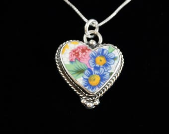 sterling silver and porcelain heart pendant