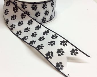 """FREE SHIPPING- 2.5"""" Wired Black and White Paw Print Ribbon - 5 Yards"""