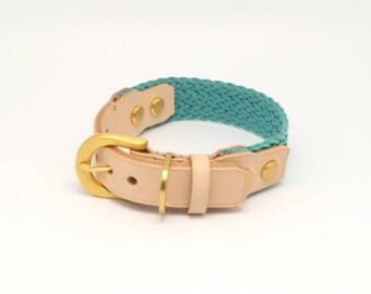 Designer Handmade Dog Collar (Mint) - Vegetable tanned leather