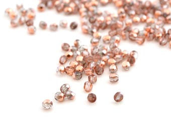 Mix 50 beads oval pink 3mm copper faceted Czech glass