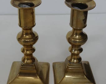 Pair Of Vintage ANTIQUE BRASS CANDLESTICKS Candle Holder