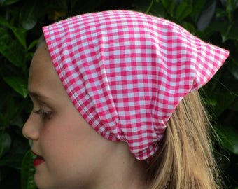 KERCHIEF / scarf for girl white pink gingham cotton