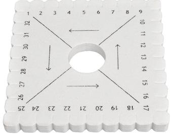 KUMIHIMO disc - Square, seed beads, braiding... (± 10cm) - white