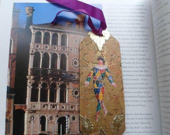 Golden Cork bookmark with the Italian commedia dell'arte character ' arte: Harlequin