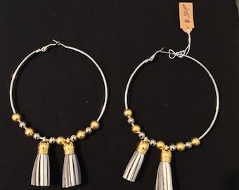 Large Hoop Earrings with SIlver Tassels