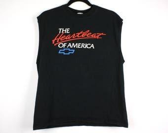 Vintage 90's Chevy Chevrolet The Heartbeat Of America Tank Top Shirt Size L Corvette Camaro