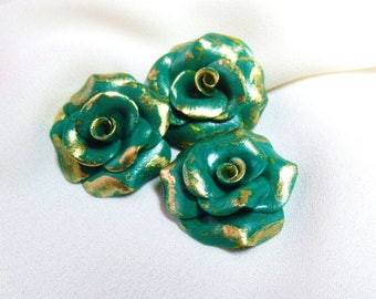 Pine Green and gold trio of roses for creations