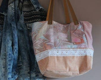Recycled chic lace and velvet textile tote bag