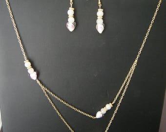 Necklace and Earring Set gold chain earrings