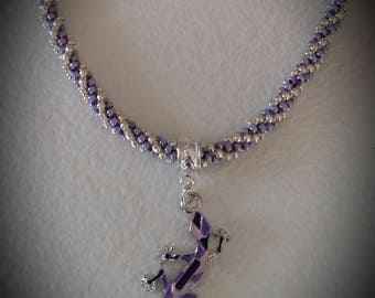 Beaded necklace purple and silver pendant lizard