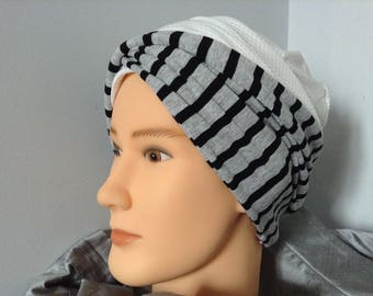 Twisted gray and black striped jersey turban headband
