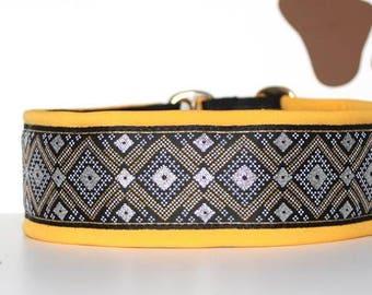 "Dog collar ""Geometric metal style"" Jacquard ribbon in a yellow frame the most elegant design"