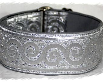 Dog collar #Silver mirror# Jacquard ribbon, Elegant design for Pet accessories fashion