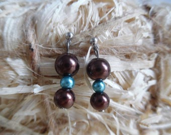 Chocolate turquoise Stud Earrings