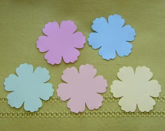 Lots of 15 cuts of pink, orange, green, blue and yellow paper embellishments hand-made flowers