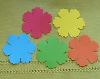Lots of 15 papers paper red, orange, green, blue and yellow embellishments hand-made flowers