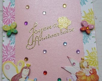 Double card 3 D made hand bibbed metallic - pink background matching envelope