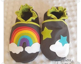 baby booties grey soft leather, Rainbow and stars theme