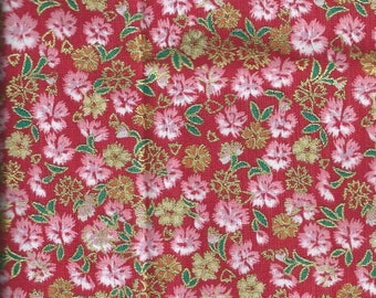 Cotton fabric with flowers like Japanese fabric - 70x45 cm