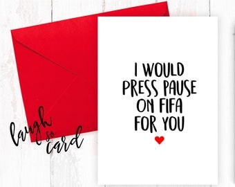 Funny valentine's card, Boyfriend Card, girlfriend card, funny, rude cards, valentines, for him, wife, husband, fifa