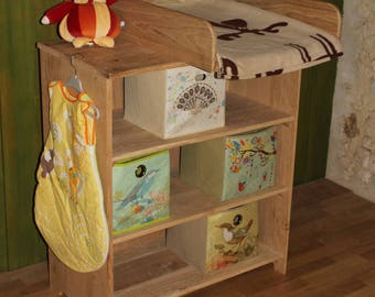 furniture diaper changing with removable plan in plain oak