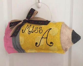 Pencil Burlap Door Hanger Decoration