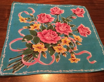 Vintage Women's Handkerchief, Aqua Blue with Pink Roses and Yellow Flowers