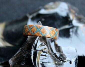 Azurite Blue Cross Hatch Ring
