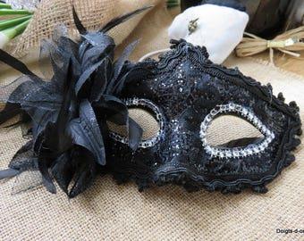 Black Lace and rhinestone Venetian Wolf mask