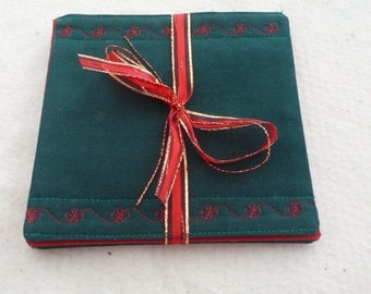 Quilted Coasters in Red and Green - Christmas Gift, Holiday Gift, Hostess Gift - set of 4