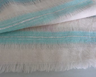 """Vintage Aqua, Silver and Cream Scarf, Approximately 12"""" x 48"""""""