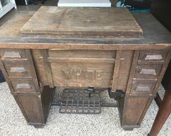 Antique White Mission Treadle Sewing Machine