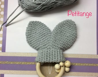 Rabbit baby teething ring