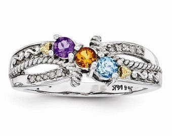 New Antiqued Sterling Silver & 14k Yellow Gold Two to Five Stones Family Mother's Ring Sizes 5-10 Make Yours Today.Made in the United States