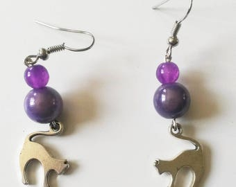 Purple beads and cat charm earrings