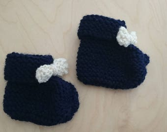 Navy Blue 0/3 month baby booties