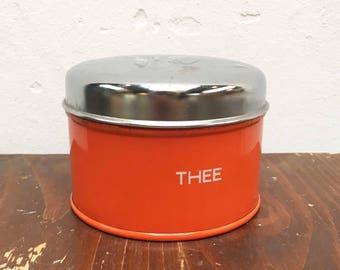 Low vintage retro orange tea Tin