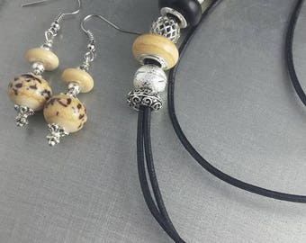 Set of necklace murano glass earrings