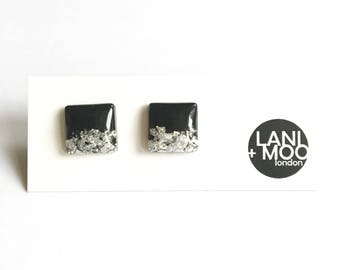 Square Black Resin Stud Metallic Silver Leaf Statement Earrings!