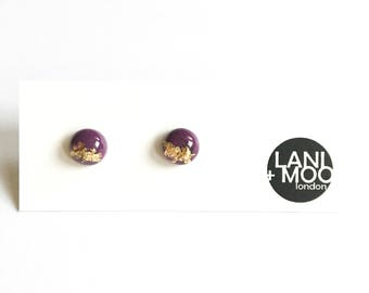 Dinky Circle Purple Resin Gold Metallic Leaf Stud Statement Earrings!