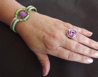 "Two-tone ""Hera"" filigree bracelet suede"