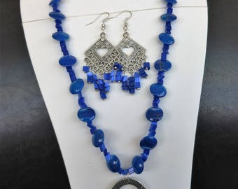 ROYAL Necklace blue and royal blue earrings