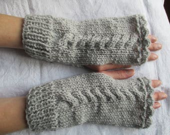 Gray fingerless gloves acrylic wool women, mothers day gift