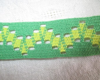 stripe green and yellow vintage 2.5 cm in height