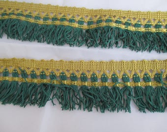 Gold and green fringe trim 5 cm height