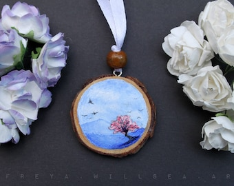 Handmade Wood slice acrylic painting, keyring ornament decoration. Spring tree blossom drawing sketch with ribbon