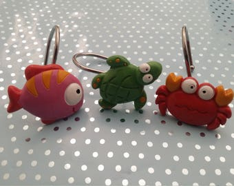 Handpainted 12pieces seaworld,sealife(crab,fish,turtle)shower curtain rings/hooks bathroom.Valentines birthday housewarming gift for him her