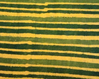 Yellow Green Hand Block Striped Print Cotton Running Fabric For Dress Making Cotton Fabric by Yard