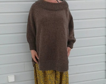 Pullover cape for women size 42/44 peat colour